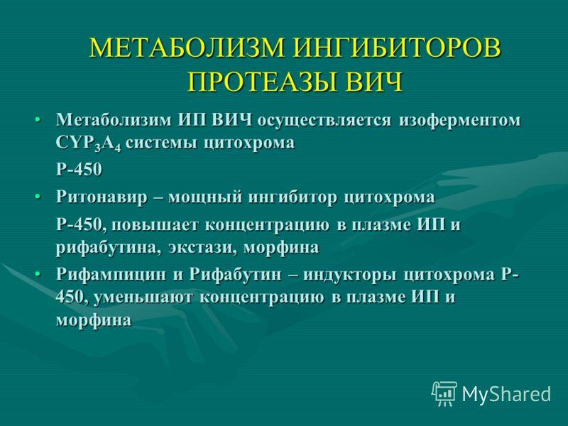 МЕТАБОЛИЗМ ИНГИБИТОРОВ ПРОТЕАЗЫ ВИЧ Метаболизим ИП ВИЧ осуществляется изоферментом CYP 3 A 4 системы цитохромаМетаболизим ИП ВИЧ осуществляется изоферментом CYP 3 A 4 системы цитохромаР-450 Ритонавир – мощный ингибитор цитохромаРитонавир – мощный инг