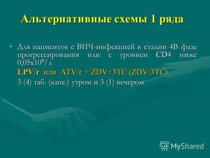 Альтернативные схемы 1 ряда Для пациентов с ВИЧ-инфекцией в стадии 4В фазе прогрессирования или с уровнем CD 4 ниже 0,05х10 9 /лДля пациентов с ВИЧ-инфекцией в стадии 4В фазе прогрессирования или с уровнем CD 4 ниже 0,05х10 9 /л LPV/r или ATV/r + ZDV