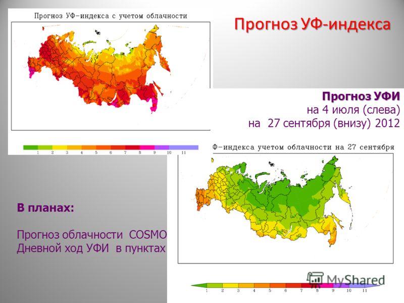Прогноз УФ-индекса В планах: Прогноз облачности COSMO Дневной ход УФИ в пунктах Прогноз УФИ на 4 июля (слева) на 27 сентября (внизу) 2012
