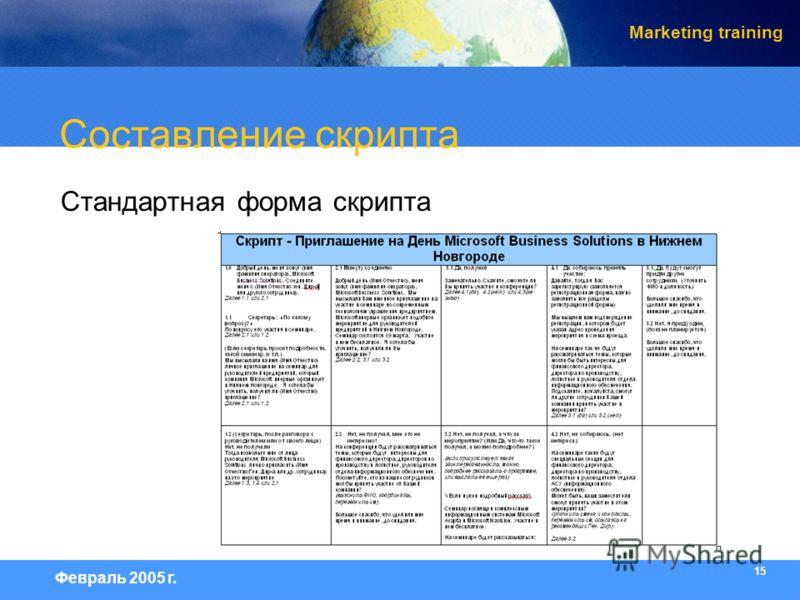 15 Февраль 2005 г. Marketing training Составление скрипта Стандартная форма скрипта