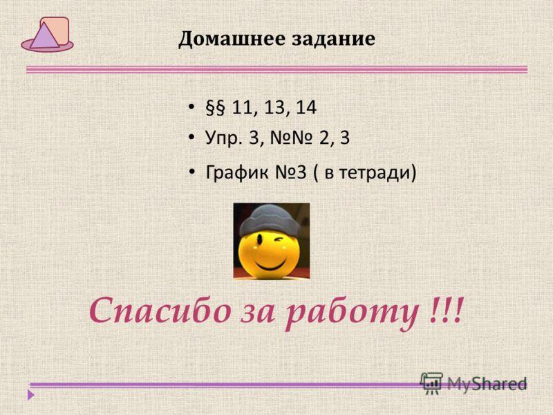 Домашнее задание §§ 11, 13, 14 Упр. 3, 2, 3 График 3 ( в тетради ) Спасибо за работу !!!