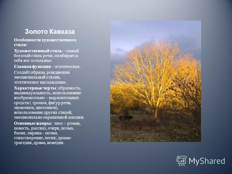 Золото Кавказа Особенности художественного стиля: Художественный стиль – самый богатый стиль речи, он вбирает в себя все остальные. Главная функция – эстетическая. Создаёт образы, рождающие эмоциональный отклик, эстетическое наслаждение. Характерные
