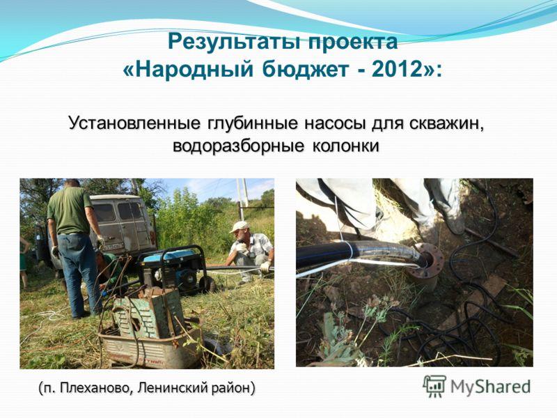 Установленные глубинные насосы для скважин, водоразборные колонки (п. Плеханово, Ленинский район) Результаты проекта «Народный бюджет - 2012»: