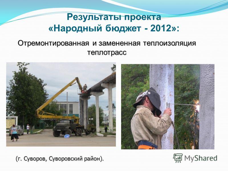 Отремонтированная и замененная теплоизоляция теплотрасс (г. Суворов, Суворовский район). Результаты проекта «Народный бюджет - 2012»: