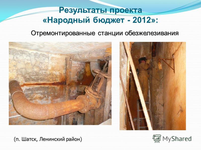 Отремонтированные станции обезжелезивания (п. Шатск, Ленинский район) Результаты проекта «Народный бюджет - 2012»: