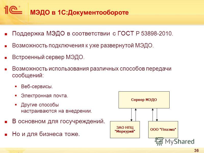 МЭДО в 1С:Документообороте Поддержка МЭДО в соответствии с ГОСТ Р 53898-2010. Возможность подключения к уже развернутой МЭДО. Встроенный сервер МЭДО. Возможность использования различных способов передачи сообщений: Веб-сервисы. Электронная почта. Дру