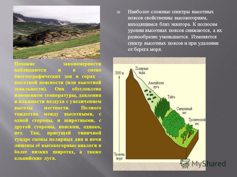 Похожие закономерности наблюдаются и в смене биогеографических зон в горах – высотной поясности ( или высотной зональности ). Она обусловлена изменением температуры, давления и влажности воздуха с увеличением высоты местности. Полного тождества между