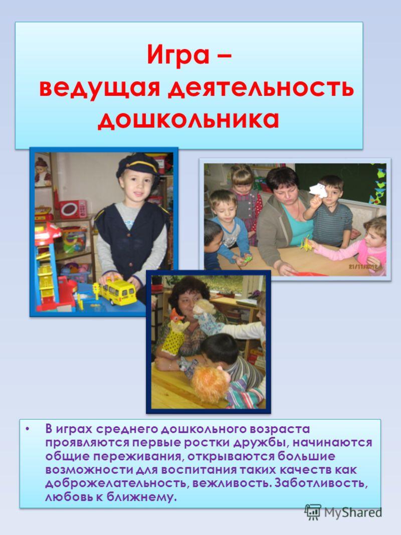 Игра – ведущая деятельность дошкольника В играх среднего дошкольного возраста проявляются первые ростки дружбы, начинаются общие переживания, открываются большие возможности для воспитания таких качеств как доброжелательность, вежливость. Заботливост