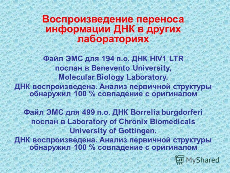 Воспроизведение переноса информации ДНК в других лабораториях Файл ЭМС для 194 п.о. ДНК HIV1 LTR послан в Benevento University, Molecular Biology Laboratory. ДНК воспроизведена. Анализ первичной структуры обнаружил 100 % совпадение с оригиналом Файл