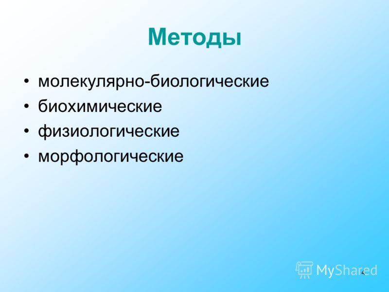 4 молекулярно-биологические биохимические физиологические морфологические Методы