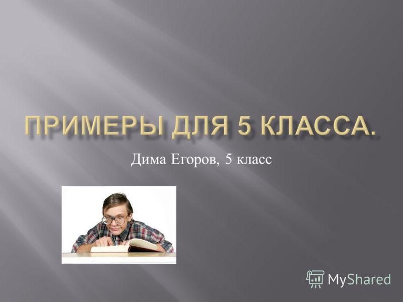 Дима Егоров, 5 класс