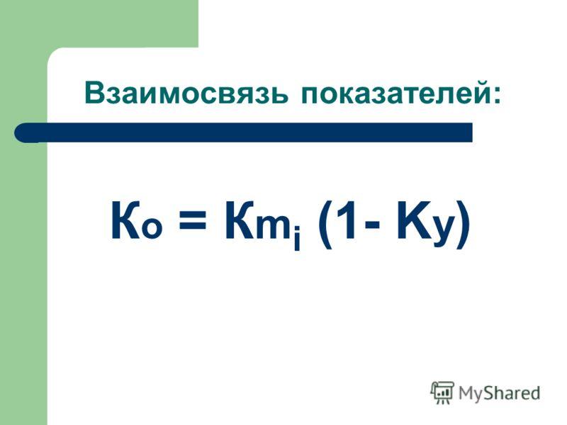 Взаимосвязь показателей: К о = К m i (1- K y )