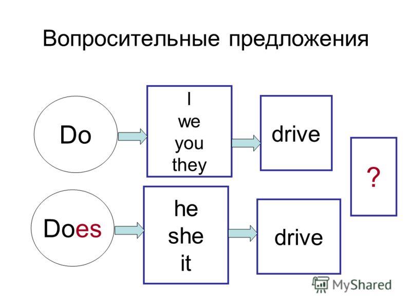 Вопросительные предложения I we you they he she it Do Does drive ?