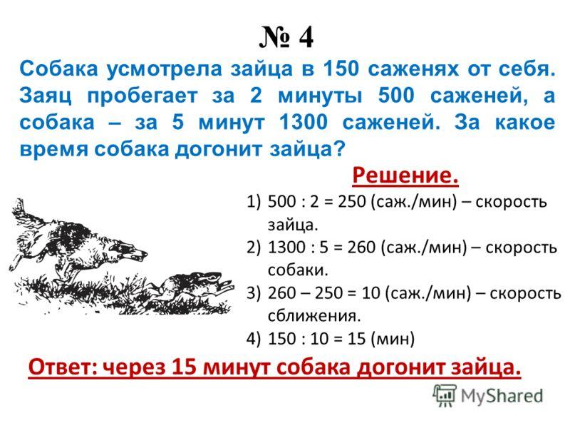 4 Собака усмотрела зайца в 150 саженях от себя. Заяц пробегает за 2 минуты 500 саженей, а собака – за 5 минут 1300 саженей. За какое время собака догонит зайца? Решение. 1)500 : 2 = 250 (саж./мин) – скорость зайца. 2)1300 : 5 = 260 (саж./мин) – скоро