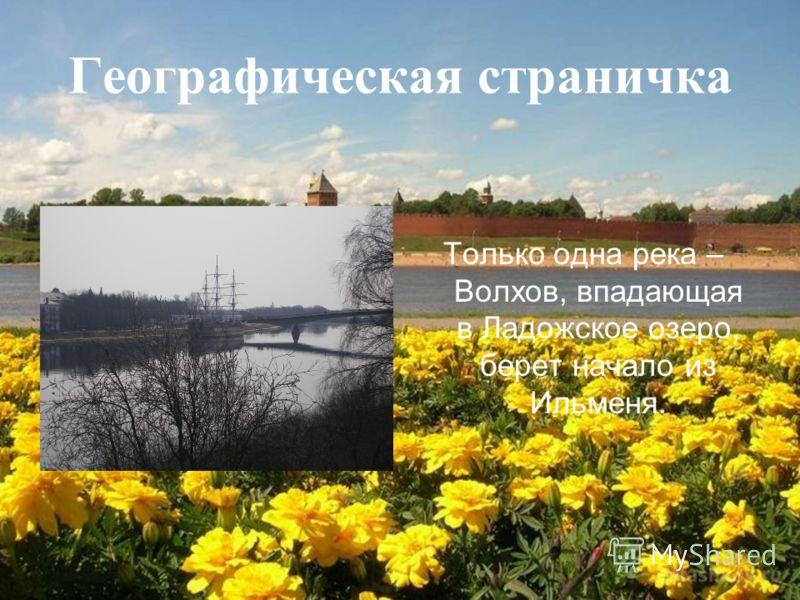 Географическая страничка Только одна река – Волхов, впадающая в Ладожское озеро, берет начало из Ильменя.