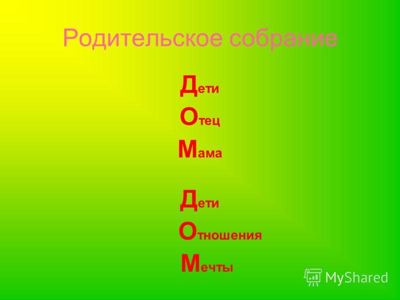 Родительское собрание Д ети О тец М ама Д ети О тношения М ечты