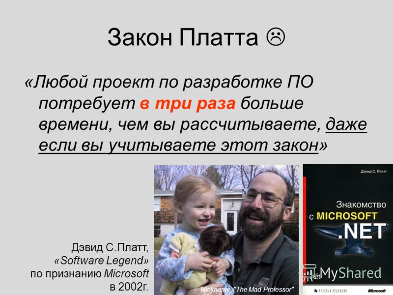 15 Закон Платта «Любой проект по разработке ПО потребует в три раза больше времени, чем вы рассчитываете, даже если вы учитываете этот закон» Дэвид С.Платт, «Software Legend» по признанию Microsoft в 2002г. Nickname: The Mad Professor