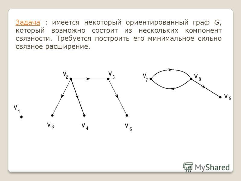 Задача : имеется некоторый ориентированный граф G, который возможно состоит из нескольких компонент связности. Требуется построить его минимальное сильно связное расширение.