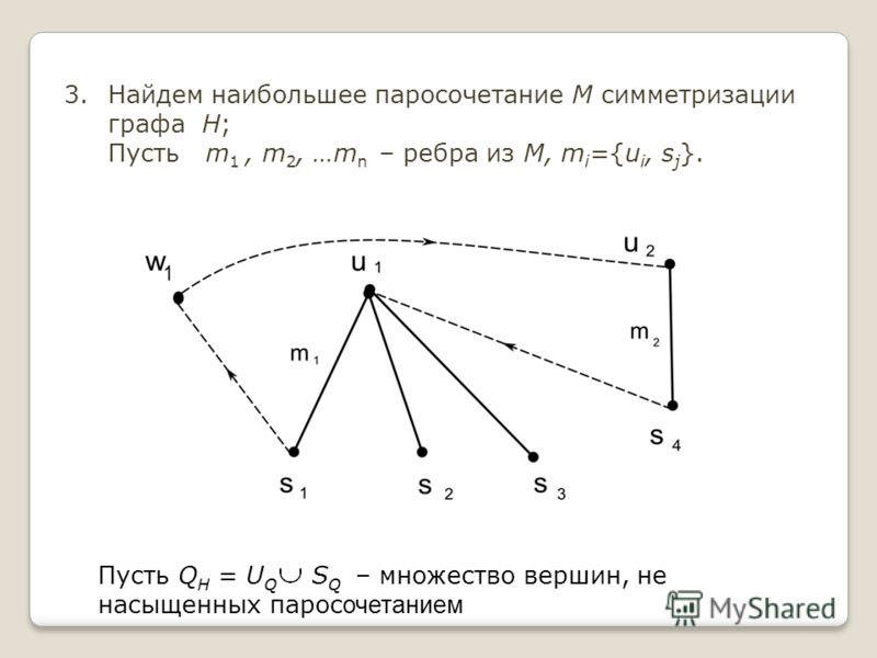 3.Найдем наибольшее паросочетание М симметризации графа H; Пусть m 1, m 2, …m n – ребра из M, m i ={u i, s j }. Пусть Q H = U Q S Q – множество вершин, не насыщенных парос очетанием