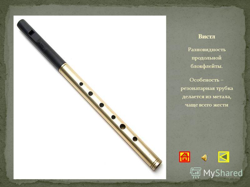 Разновидность продольной блокфлейты. Особеность – резонатарная трубка делается из метала, чаще всего жести