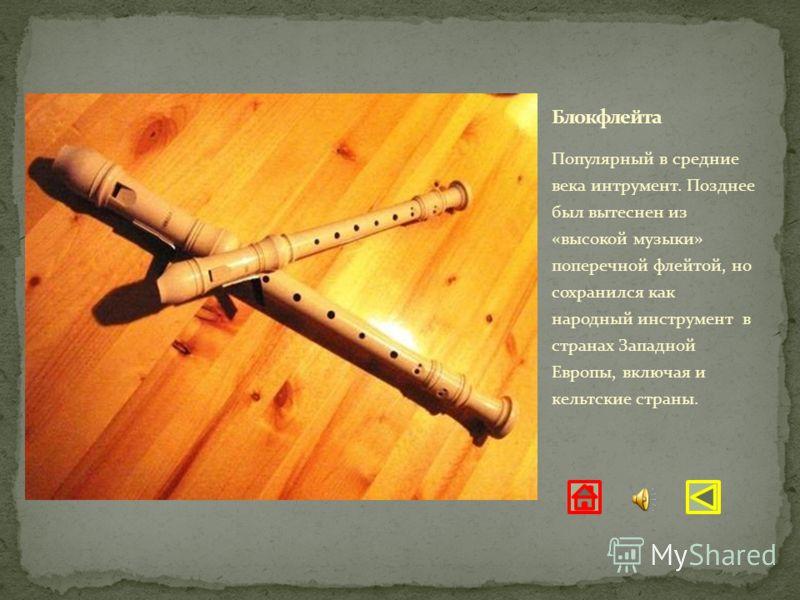 Популярный в средние века интрумент. Позднее был вытеснен из «высокой музыки» поперечной флейтой, но сохранился как народный инструмент в странах Западной Европы, включая и кельтские страны.