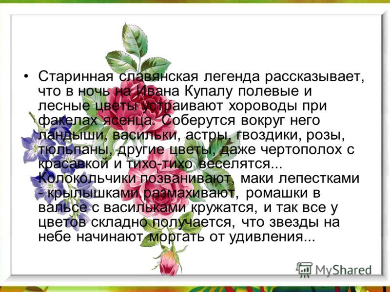 Старинная славянская легенда рассказывает, что в ночь на Ивана Купалу полевые и лесные цветы устраивают хороводы при факелах ясенца. Соберутся вокруг него ландыши, васильки, астры, гвоздики, розы, тюльпаны, другие цветы, даже чертополох с красавкой и