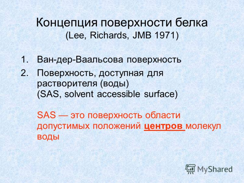 Концепция поверхности белка (Lee, Richards, JMB 1971) 1.Ван-дер-Ваальсова поверхность 2.Поверхность, доступная для растворителя (воды) (SAS, solvent accessible surface) SAS это поверхность области допустимых положений центров молекул воды