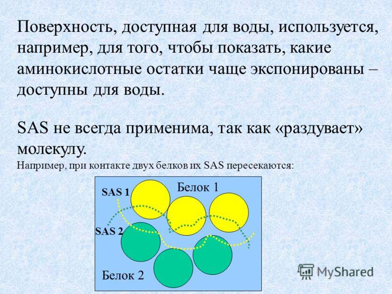 Поверхность, доступная для воды, используется, например, для того, чтобы показать, какие аминокислотные остатки чаще экспонированы – доступны для воды. SAS не всегда применима, так как «раздувает» молекулу. Например, при контакте двух белков их SAS п