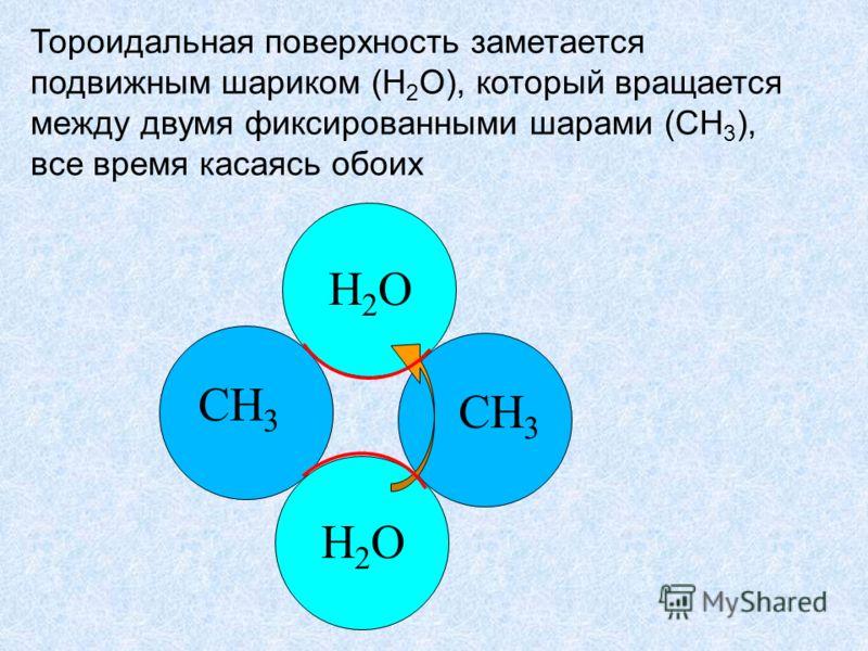 Тороидальная поверхность заметается подвижным шариком (H 2 O), который вращается между двумя фиксированными шарами (CH 3 ), все время касаясь обоих CH 3 H2OH2O H2OH2O