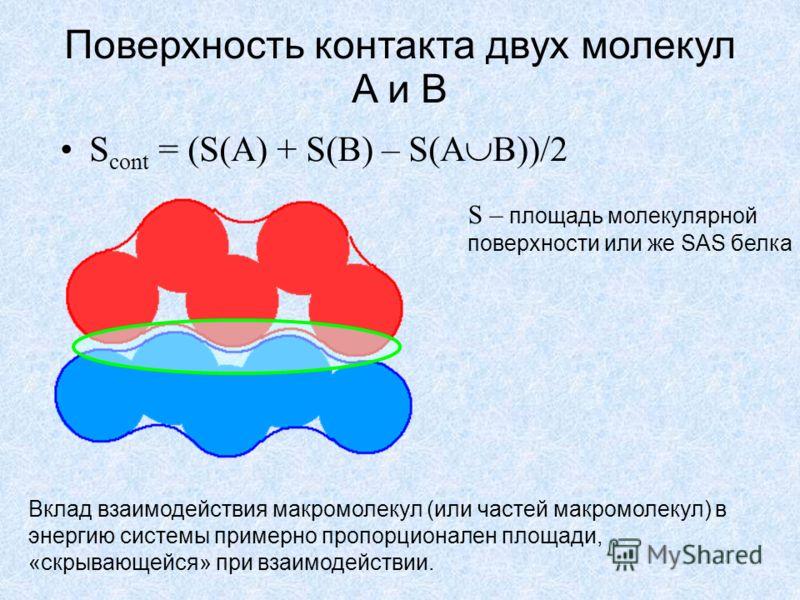 Поверхность контакта двух молекул A и B S cont = (S(A) + S(B) – S(A B))/2 S – площадь молекулярной поверхности или же SAS белка Вклад взаимодействия макромолекул (или частей макромолекул) в энергию системы примерно пропорционален площади, «скрывающей