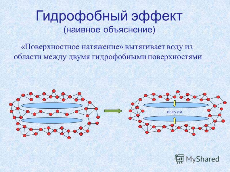 вакуум Гидрофобный эффект (наивное объяснение) «Поверхностное натяжение» вытягивает воду из области между двумя гидрофобными поверхностями
