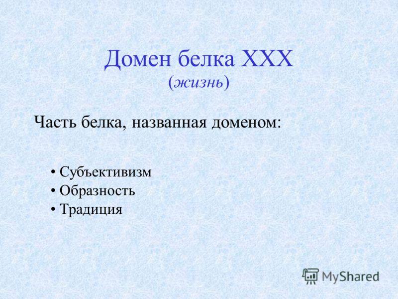 Домен белка XXX (жизнь) Часть белка, названная доменом: Субъективизм Образность Традиция