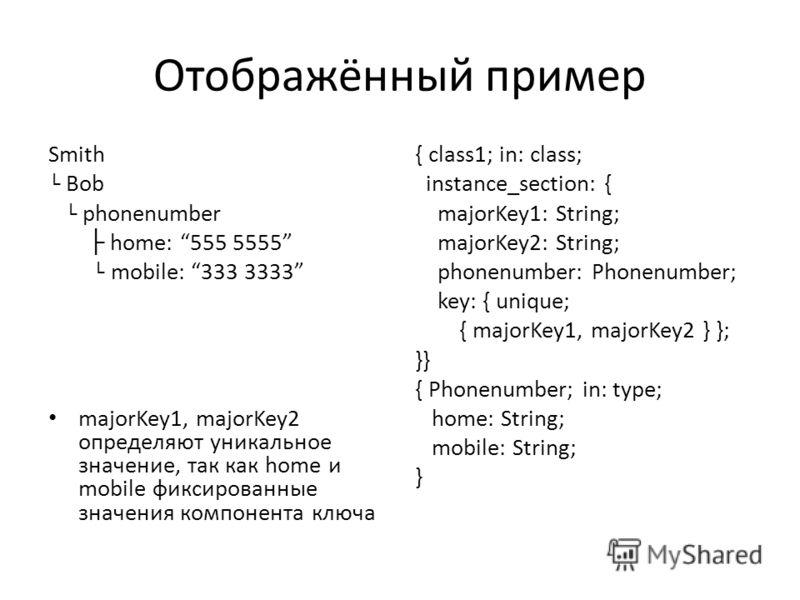 Отображённый пример Smith Bob phonenumber home: 555 5555 mobile: 333 3333 majorKey1, majorKey2 определяют уникальное значение, так как home и mobile фиксированные значения компонента ключа { class1; in: class; instance_section: { majorKey1: String; m