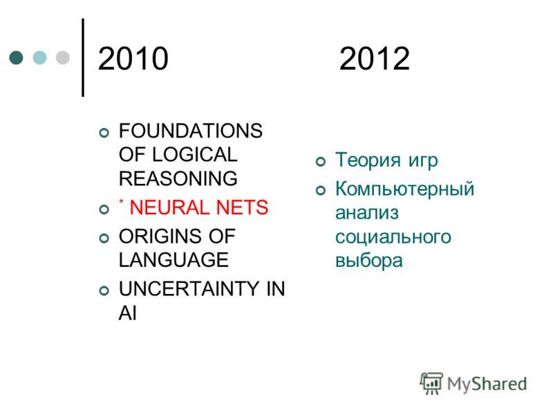 2010 2012 FOUNDATIONS OF LOGICAL REASONING * NEURAL NETS ORIGINS OF LANGUAGE UNCERTAINTY IN AI Теория игр Компьютерный анализ социального выбора