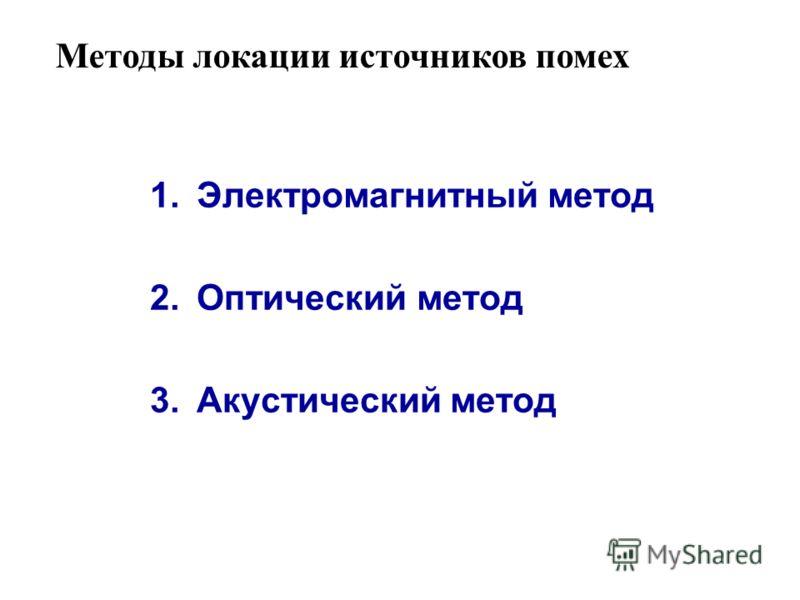 Методы локации источников помех 1.Электромагнитный метод 2.Оптический метод 3.Акустический метод