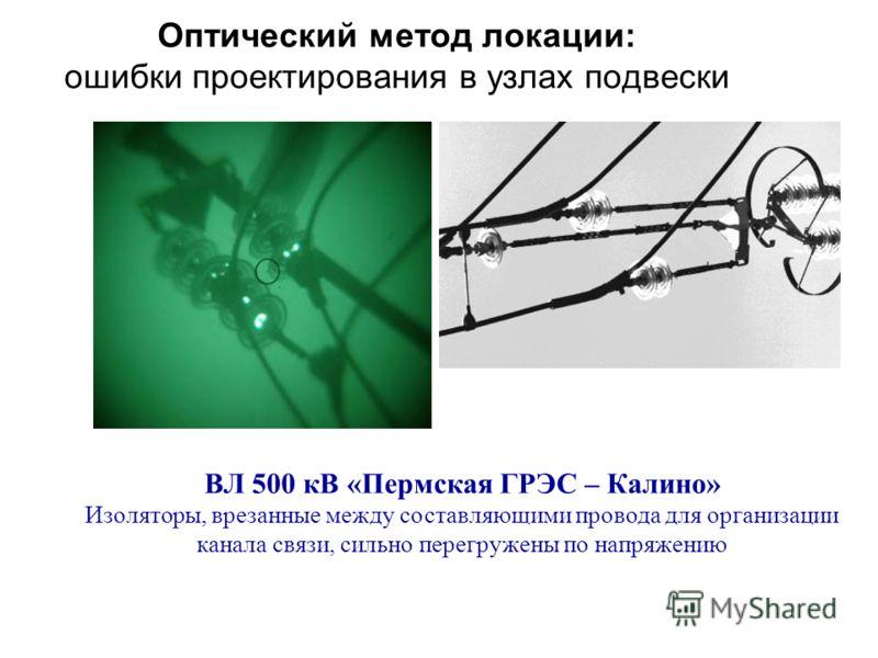 Оптический метод локации: ошибки проектирования в узлах подвески ВЛ 500 кВ «Пермская ГРЭС – Калино» Изоляторы, врезанные между составляющими провода для организации канала связи, сильно перегружены по напряжению