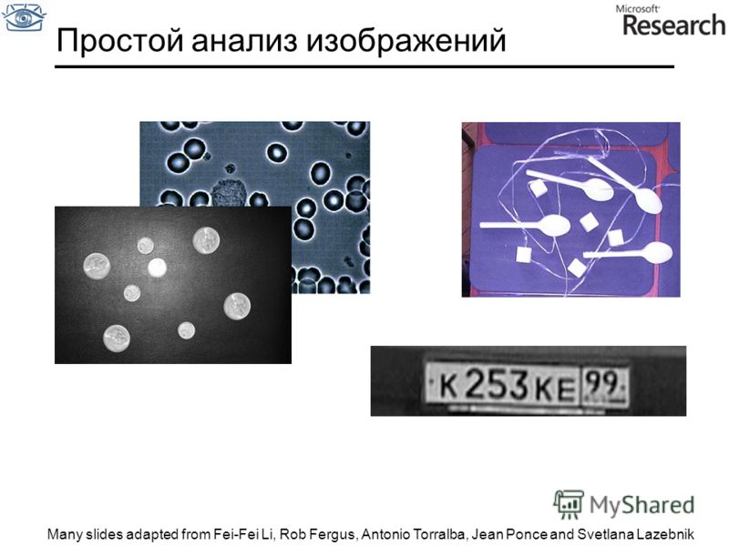 Простой анализ изображений Many slides adapted from Fei-Fei Li, Rob Fergus, Antonio Torralba, Jean Ponce and Svetlana Lazebnik