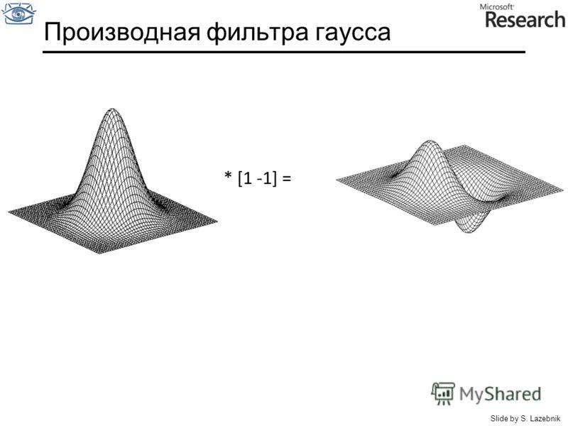 Производная фильтра гаусса * [1 -1] = Slide by S. Lazebnik