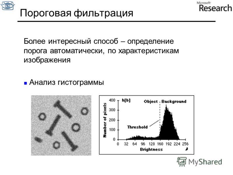 Пороговая фильтрация Более интересный способ – определение порога автоматически, по характеристикам изображения Анализ гистограммы