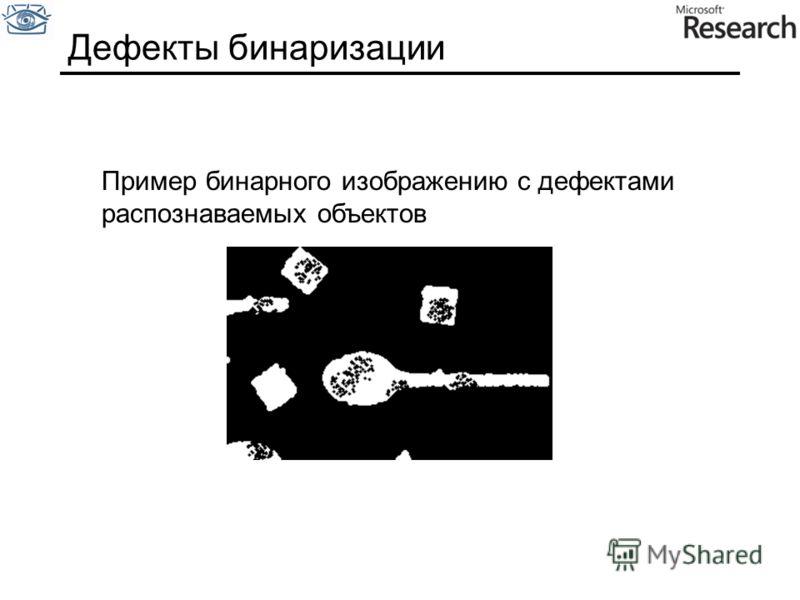 Дефекты бинаризации Пример бинарного изображению с дефектами распознаваемых объектов