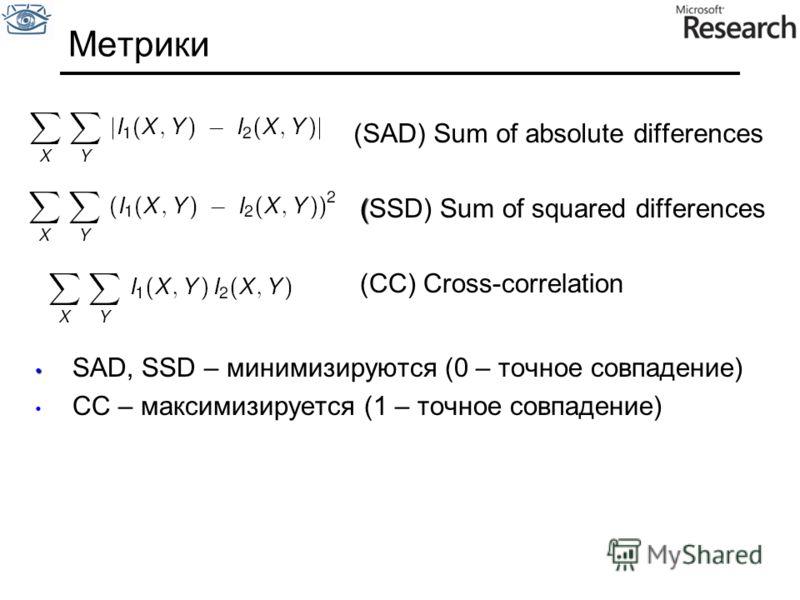Метрики (SAD) Sum of absolute differences ( (SSD) Sum of squared differences (CC) Cross-correlation SAD, SSD – минимизируются (0 – точное совпадение) CC – максимизируется (1 – точное совпадение)
