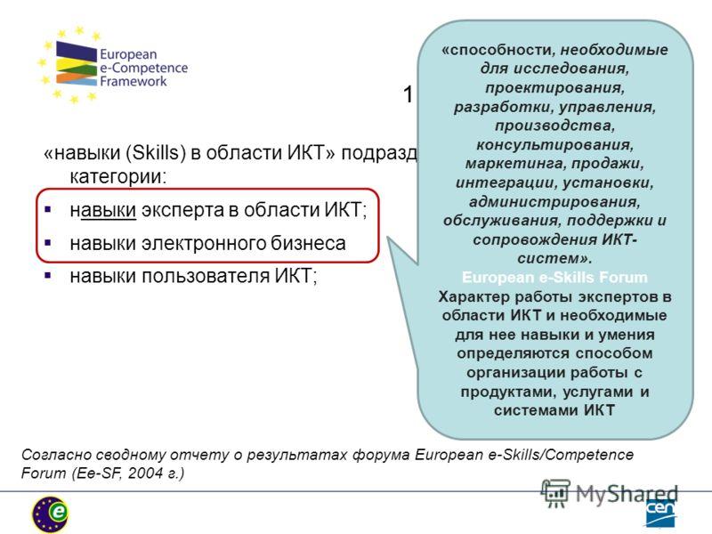 1.Целевая группа е-СF: «навыки (Skills) в области ИКТ» подразделяются на три основные категории: навыки эксперта в области ИКТ; навыки электронного бизнеса навыки пользователя ИКТ; «способности, необходимые для исследования, проектирования, разработк