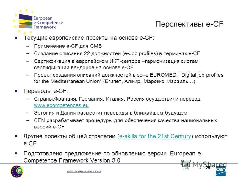 www.ecompetences.eu 29 Перспективы e-CF Текущие европейские проекты на основе e-CF: –Применение e-CF для СМБ –Создание описания 22 должностей (e-Job profiles) в терминах e-CF –Сертификация в европейском ИКТ-секторе –гармонизация систем сертификации в