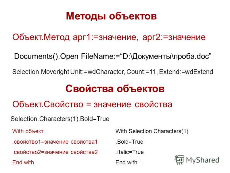 Методы объектов Объект.Метод арг1:=значение, арг2:=значение Documents().Open FileName:=D:\Документы\проба.doc Selection.Moveright Unit:=wdCharacter, Count:=11, Extend:=wdExtend Свойства объектов Объект.Свойство = значение свойства Selection.Character