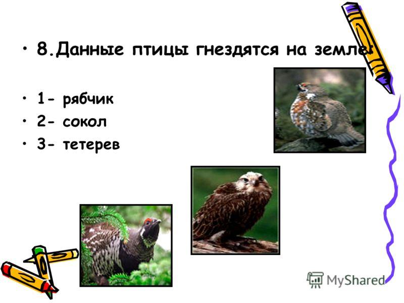 8.Данные птицы гнездятся на земле: 1- рябчик 2- сокол 3- тетерев 8. Данные звери – пушные: 1- соболь 2- лиса 3- песец 9. Все эти животные являются парнокопытными: 1- лошадь 2- корова 3- бегемот