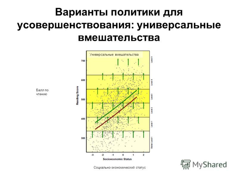 Варианты политики для усовершенствования: универсальные вмешательства Балл по чтению Универсальные вмешательства Социально-экономический статус