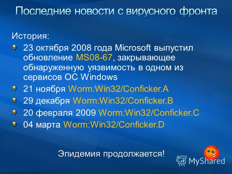 История: 23 октября 2008 года Microsoft выпустил обновление MS08-67, закрывающее обнаруженную уязвимость в одном из сервисов ОС Windows 21 ноября Worm:Win32/Conficker.A 29 декабря Worm:Win32/Conficker.B 20 февраля 2009 Worm:Win32/Conficker.C 04 марта