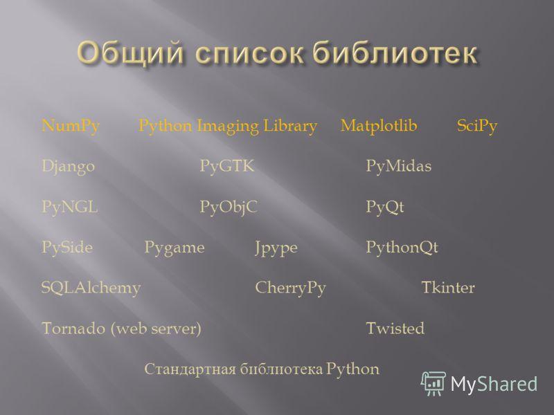 NumPy Python Imaging Library Matplotlib SciPy Django PyGTK PyMidas PyNGL PyObjC PyQt PySide Pygame Jpype PythonQt SQLAlchemy CherryPy Tkinter Tornado (web server) Twisted Стандартная библиотека Python