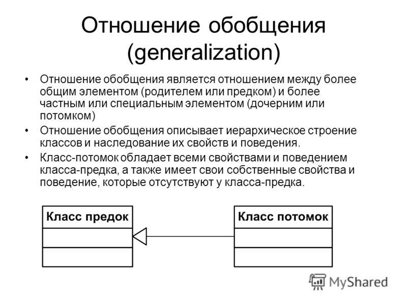 Отношение обобщения (generalization) Отношение обобщения является отношением между более общим элементом (родителем или предком) и более частным или специальным элементом (дочерним или потомком) Отношение обобщения описывает иерархическое строение кл