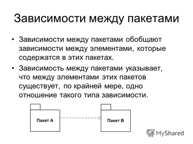 Зависимости между пакетами Зависимости между пакетами обобщают зависимости между элементами, которые содержатся в этих пакетах. Зависимость между пакетами указывает, что между элементами этих пакетов существует, по крайней мере, одно отношение такого